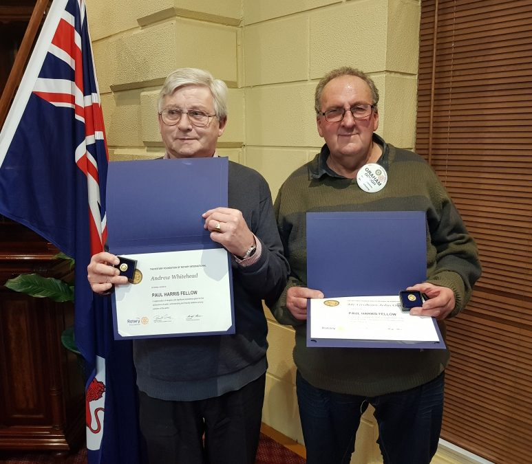 PP Andrew Whitehead and Rotarian Graham Gough presented with a Paul Harris Fellowship