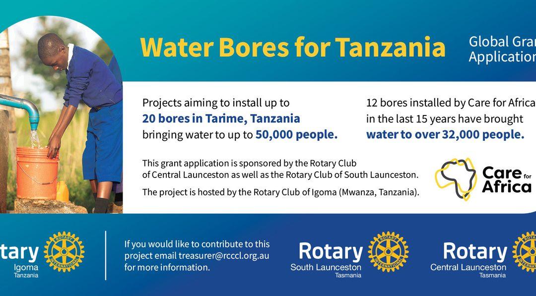 Water bores for Tanzania
